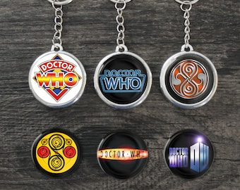 Doctor Who Inspired Keychain Button Pin Magnet 1.5 37mm Photo Badge BBC TV Sci-Fi Tardis Time Lord Retro Van Gogh