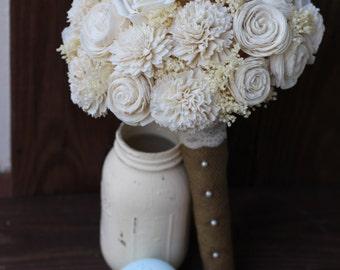 Sola bouquet, wedding bouquet, bridal bouquet, rustic wedding, cream, ivory, bridesmaid bouquet