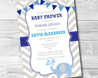 Blue Baby Shower Invitation Printable - Chevron Baby Shower - Blue and Gray Chevron Invitation - Customize to any event type!