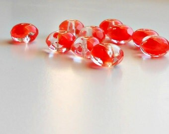 10 Crystal Orange Czech Rondelles, 6x9mm, Crystal Orange, Rondelle, Beads, Supplies, Jewelry Making, Bead Supply