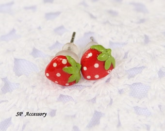 Miniature Strawberry Earrings, red clay stud, strawberry earrings clay, clay stud, fancy clay stud