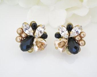 Black and Gold post earring, Swarovski crystal and pearl wedding earring, Post bridal earring