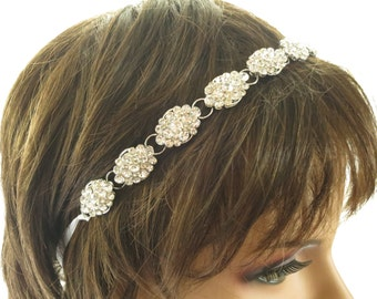Rhinestone bridal halo, Boho crystal headpiece, Marquise wedding hairpiece