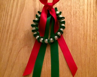 Limited Edition | Free UK Shipping | Handmade Ribbon & Pearl Bracelet | Green/Red Ribbon | Imitation Pearls | Christmas Wreath Inspired