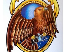 A5 Ravenclaw Hogwarts Eagle and Diadem- Tattoo Flash style- A5 size available. PLAIN BACKGROUND
