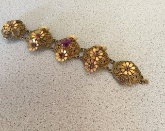Vintage Filigree Bracelet with purple stones