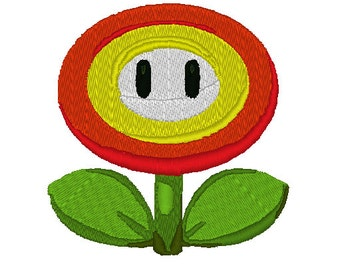 Mario Fire Power Flower Embroidery