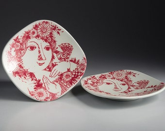Danish Bjørn Wiinblad - Nymølle Ceramics - Two small Dishes are sold together
