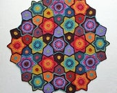 Crochet pattern jewelled star style blanket for baby pram, cot or as lap blanket Design Jane Crowfoot lovely little throw made of 4ply yarn