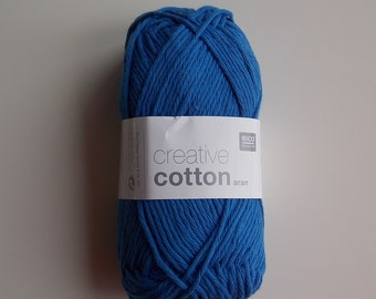 Yarn cotton aran Rico Design creative cotton aran crochet 50 g 85m (92 yards) machinewashable needle size 4-5 EU (US 6-8) blue code 39