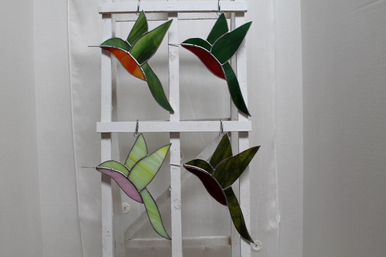 Hummingbird Stained Glass Suncatcher by ViettaNoriega on Etsy - photo#47