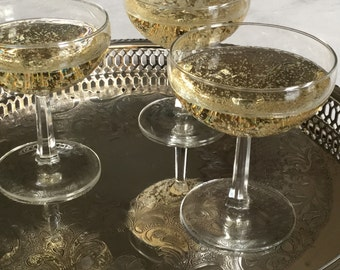 Vintage French Champagne Glasses / Champagne Coupes / Tall Sherbet Glasses