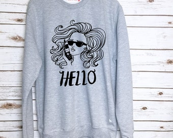 Hello Adele Top Hand Drawn Illustrated Sweater Pop Singer Adele Song Lyric Jumper by Dom and Ink