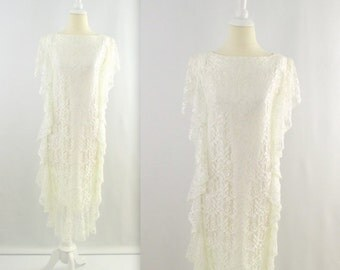 Vintage 1980s does 20's White Lace Dress - Gatsby Style - Small