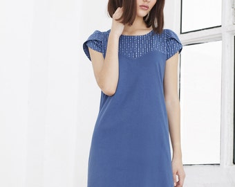 Heina cobalt blue 100% organic cotton dress