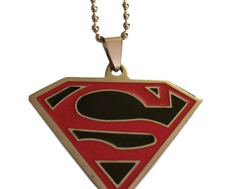 Superman Black and Red Shield Enamel Pendant Necklace