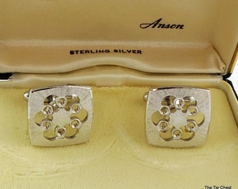 Vintage Sterling Silver Cufflinks Floral Anson
