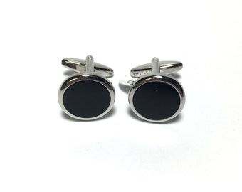 Onyx Silver Cufflinks in Box, Wedding Gifts, Groomsmen's Gifts