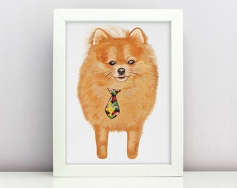 German Spitz Printable Pet Portrait Personalized Gift For Dog Lover Art Home Decor Puppy Clipart Digital Download PNG Print