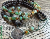 Adjustable 108 Bead Agarwood, Peacock Agate + Buddha Pendant Yoga and Meditation Mala with Antique Copper Heishi Beads