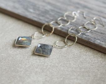 Long statement earrings, labradorite earrings, shoulder duster earrings, long silver earrings