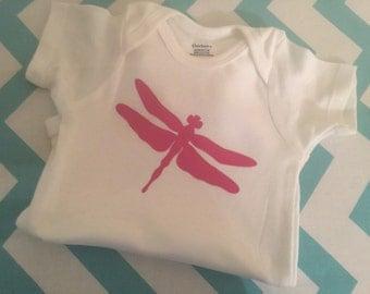Dragonfly spring baby girl onesie