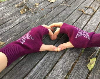 FREE US Shipping! Fingerless Gloves Purple Star Arm Warmers Knit Mittens Hand Warmers Rhinestone Gloves Texting Gloves Wool Women's Gloves