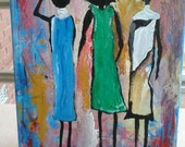 Acrylic painting, 11 by 14 inches, Original painting, African women, Home Decor, Wall art, Original acrylic painting,Free Shipping,abstract