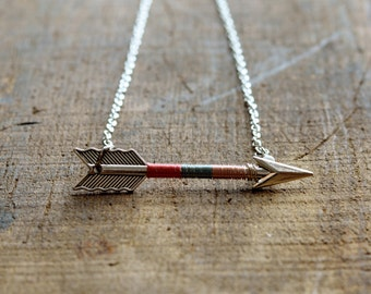 Arrow Necklace, Arrow Jewelry, Archery Necklace, Archery Jewelry, Arrow, Silver Arrow - Cotton Candy Arrow Necklace (Silver)