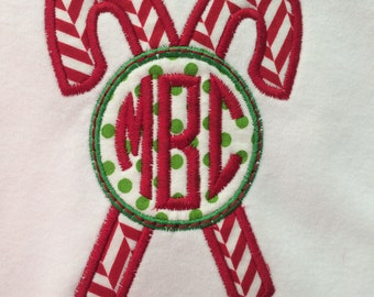 Candy Cane Monogramed Christmas T Shirts