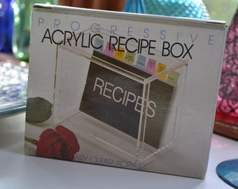 vintage 1980s acrylic lucite recipe box / NOS never opened