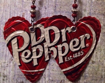 Up-cycled Dr Pepper Soda Can Earrings, recycled cans