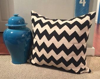 SALE! Large Vintage Madeline Weinrib Black & White / Chevron Zig Zag Amagansett Pillow + Goose Down Insert