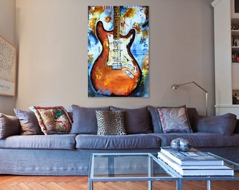 Abstract fender stratocaster electric guitar - PRINT