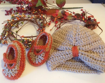 Mary Jane baby shoes and turban