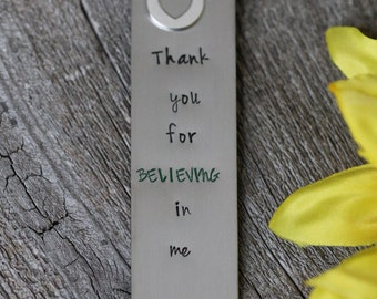 Personalized Bookmark - Hand Stamped Gift for Teacher or Parent- Custom Made Bookmark
