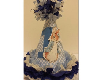 1st Birthday Boy Peter Rabbit Check  Party Hat