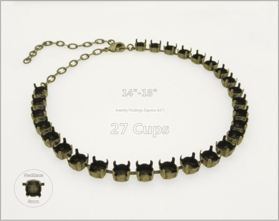 1 pc.+ 27 Cups, SS39 (8mm) Empty Cup Chain for Necklace - Antique Brass