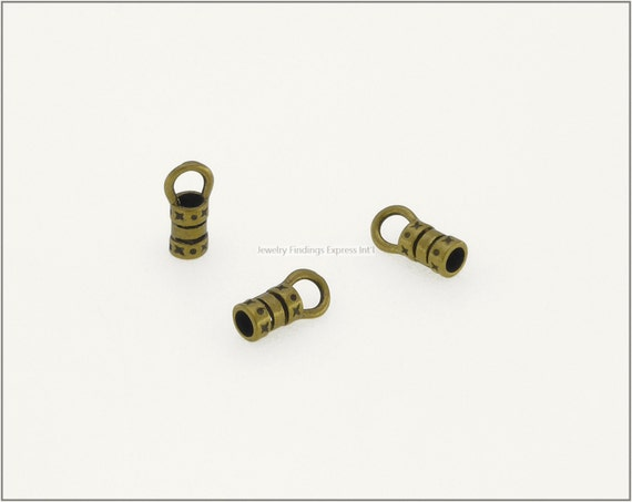 10 pc.+  2.5mm Crimp End Cap, Crimp Ends, Cord Ends for Leather Cords & Chains - Antique Brass