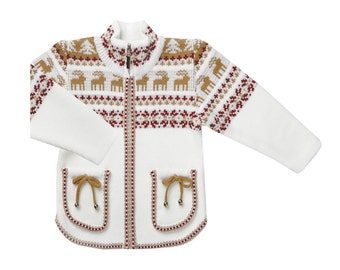 Children's jacket with deer, a Jacquard pattern, zipper
