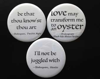buttons - Shakespeare + identity