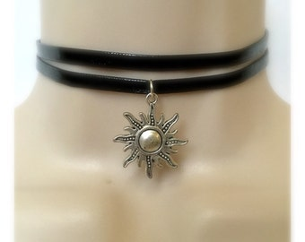 Silver Sun Double Leather choker