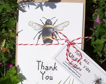 Thank you card with a bumble bee. thank you cards. Bee thank you card. Hand made cards. British wildlife card. card with a bee