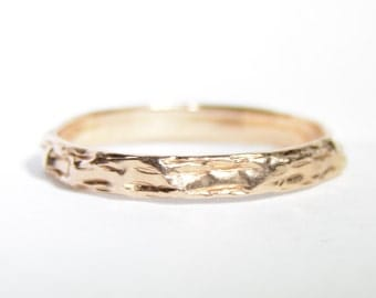 Solid 14k Rose Gold Vintage Textured Wedding Band Ring Size 8
