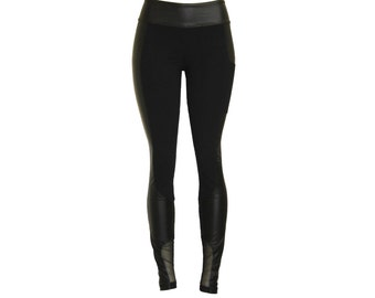 "Leggings ""Mix3"", fake leather tight pants,mesh trousers, wet look skinny leggings with pocket.."