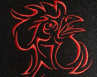 Machine Embroidery Design - Rooster symbol   New Year Pattern Monochrome embroidery