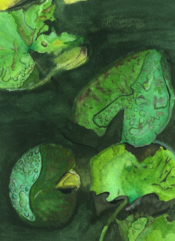 Giclee print of quot water lilies quot watercolor painting by mary thompson