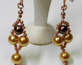 Gold and Bronze Shell Pearl Earrings with Copper Seed Beads and Copper Shepherd Hooks