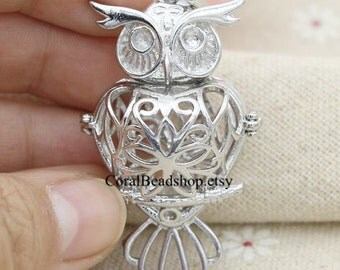 2pcs Filigree Hollow Owl Pendant Locket for Essential Oil Diffuser Charms Necklace Making