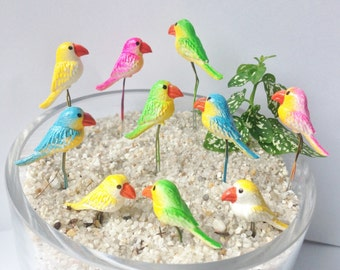 3 pcs Mini Parrot Figurines on Stem, Terrarium, Fair Garden, Art Supply